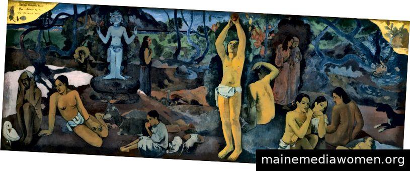"""""""Michael Jackson war vielleicht ein Pädophiler. Paul Gauguin war es sicherlich. Der Künstler, der für seine Gemälde junger Mädchen in Tahiti berühmt ist, hatte in Tahiti Beziehungen zu diesen Mädchen, als er nicht nur im mittleren Alter war, sondern auch Syphilis hatte. […] Zum Zeitpunkt des Schreibens hat die National Gallery nicht daran gedacht, seine Werke aus der Ausstellung zu entfernen """", schreibt David Lister in Wir alle kennen Jackson und Spacey, aber was ist mit Gauguin und Hitchcock? - Woher kommen wir? Was sind wir? Wohin gehen wir? (1897, Öl auf Leinwand), von Paul Gauguin (Fotografie des Boston Museum of Fine Arts)"""