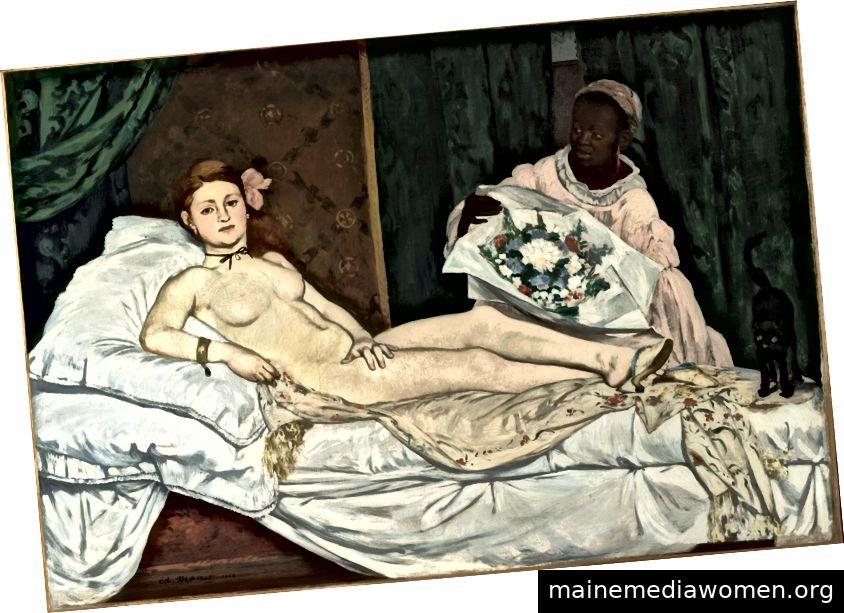 """Victorine Meurents Gesicht und Körper eroberten den Anspruch der modernen weißen Frau auf sexuelle Kongresse: nicht nur den physischen, sondern auch den mentalen. Sie wagte es, mit einem Anflug von Arroganz auf einen Körper zu starren, der von Kleidung (der Rüstung der Gesellschaft) nicht beeinträchtigt ist. """"- Olympia (1863), von Édouard Manet (Sammlung des Musée d'Orsay)"""