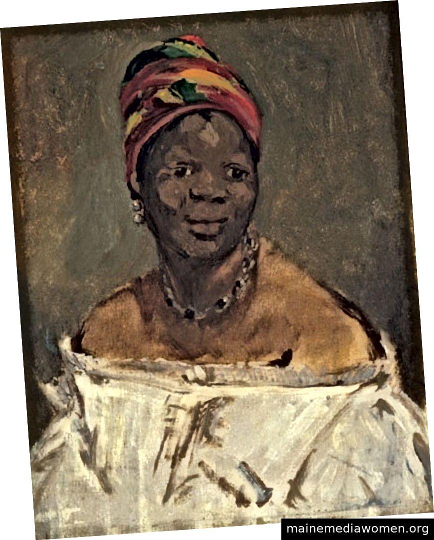 """""""Eine Negerin, auch als Porträt von Laure bekannt, […] kann eine vorbereitende Skizze für Olympias schwarzes Dienstmädchen sein oder ein echter Versuch, diese"""" schöne Negerin """"zu individualisieren, wie Manet in seinen Notizen feststellt. Hier studiert Manet Laures Gesicht und kämpft darum, die richtigen Töne auf ihren dunklen Teint anzuwenden. """"- Laure (alias La Négresse, 1862–15), von Édouard Manet (Alle Rechte vorbehalten / Pinacoteca Gianni und Marella Agnelli)"""