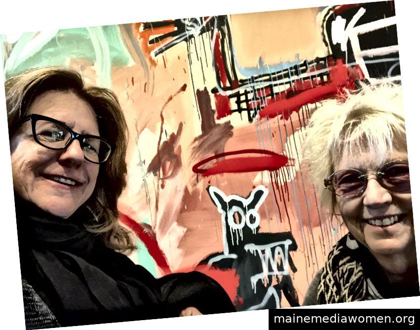 Freundin Paula (links), ich und ein Basquiat-Hund
