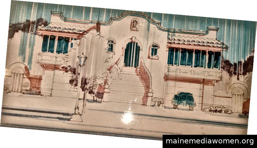 Architekturzeichnung von Nathan Solano in den 1980er Jahren