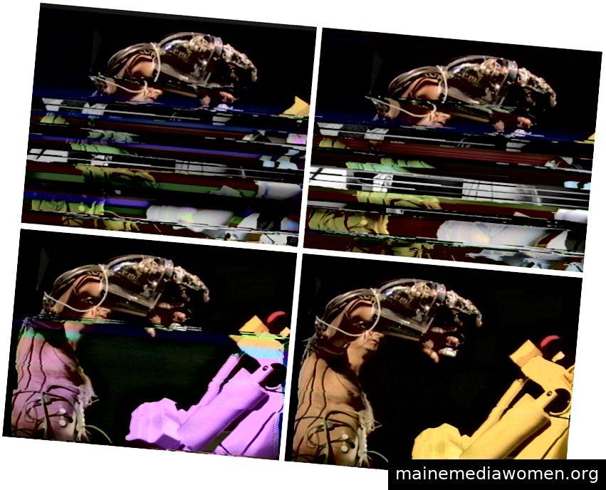 Stelarc ´Split Body Scanning Robot ', Lyon, 1995. Noch immer Leistung von einem Meister, der das Bild zeigt, fällt aus. Foto: Candice Cranmer