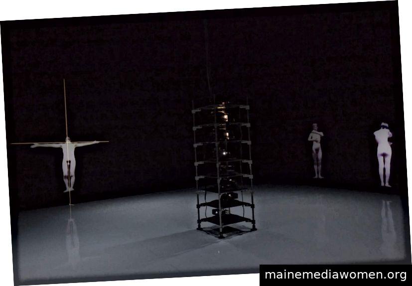 Teiji Furuhashi ´Lovers '(Detail). 1994. Computergesteuerte fünfkanalige Laser-Disc / Sound-Installation mit fünf Projektoren, zwei Soundsystemen, zwei Diaprojektoren und Dias (Farbe, Sound). Das Museum of Modern Art in New York. Foto: Ben Fino-Radin