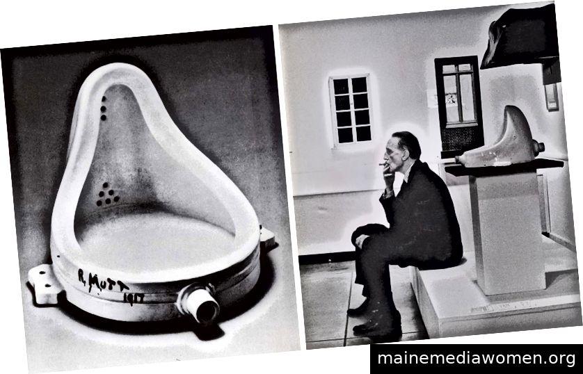 """Links: Julien Wasser """"Duchamp raucht vor Springbrunnen, Duchamp Retrospektive, Pasadena Art Museum"""", 1963."""