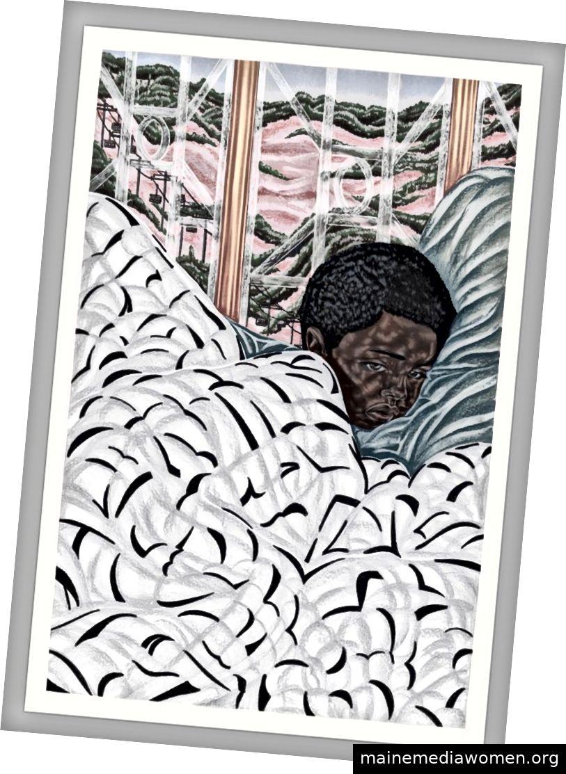 """""""Erste Nacht im Internat"""" Toyin Ojih Odutola. Zeichnung. Kohle, Pastell und Bleistift auf Papier. 2017; Im Besitz der Jack Shainman Gallery, New York. Kauf mit Mitteln des Drawing Committee und Jackson Tang"""
