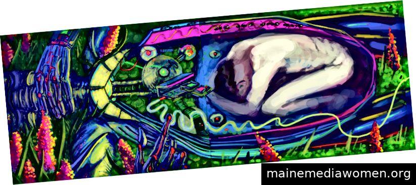 Die ersten beiden Zeichnungen von Soul In The Machine von Serste in Italien und Beatriz in New York