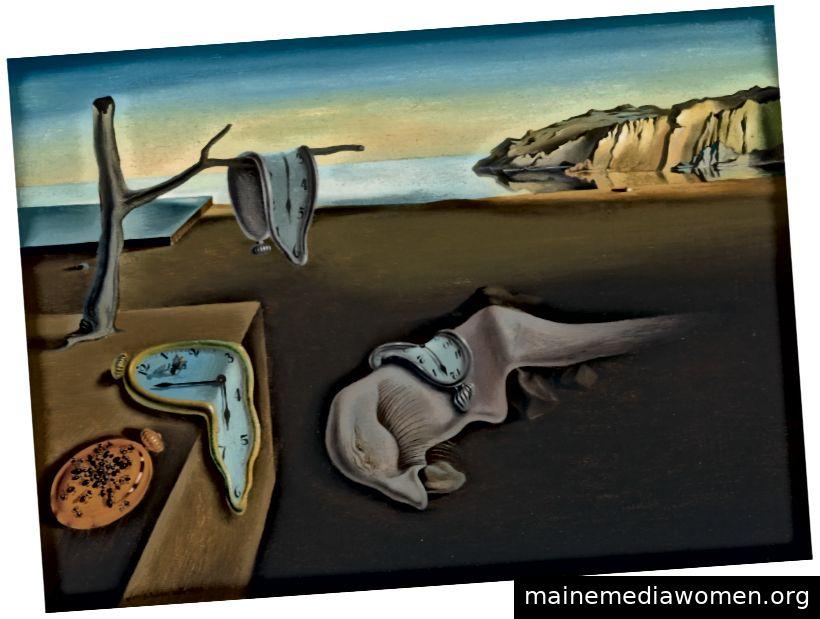 Die Beständigkeit der Erinnerung (1931) mit den ikonischen geschmolzenen Uhren inmitten der riesigen Landschaften Spaniens. Foto: © Museum of Modern Art, 2019
