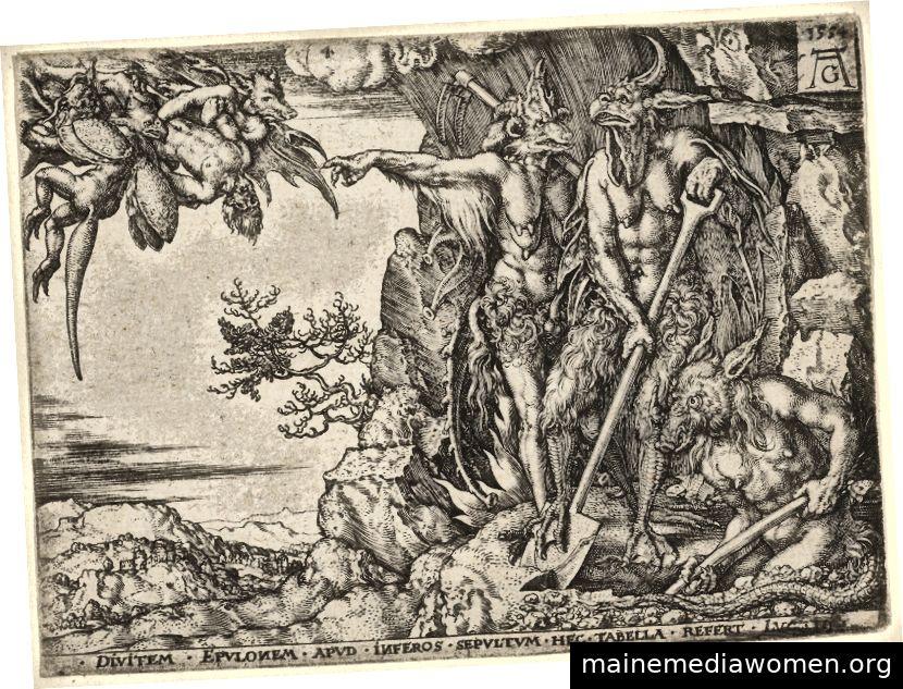 Der reiche Mann in die Hölle, aus dem Gleichnis vom reichen Mann und Lazarus, Heinrich Aldegrever, 1554