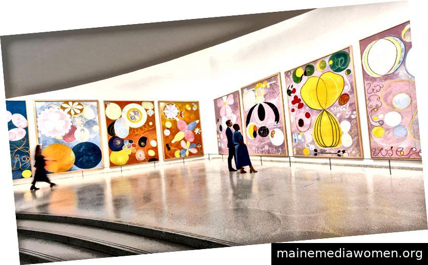 Installationsansicht, Hilma af Klint: Gemälde für die Zukunft, Solomon R. Guggenheim Museum, New York, 12. Oktober 2018 - 3. Februar 2019. Foto: David Heald