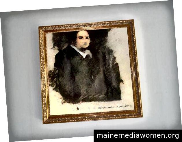"""""""Edmond de Belamy aus La Famille de Belamy"""" des französischen Kunstkollektivs Obvious wurde für 432.500 US-Dollar verkauft. Gutschrift: Christie's"""
