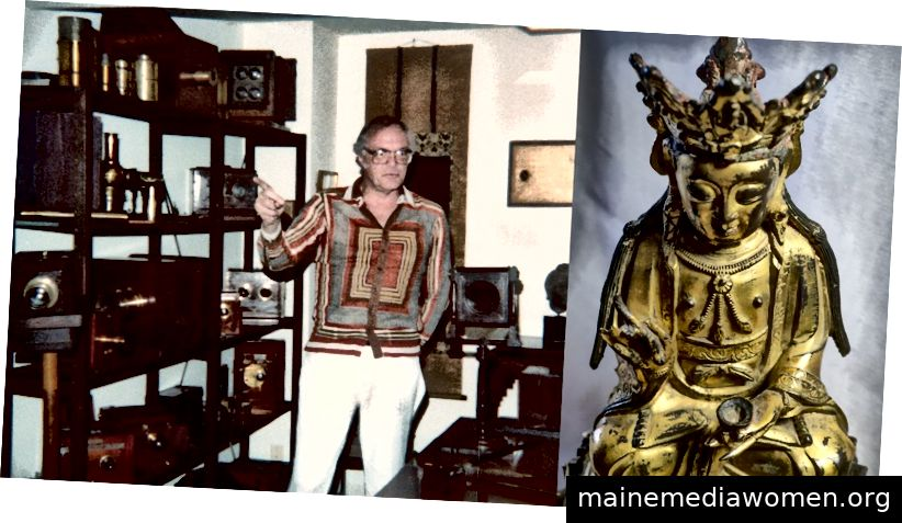 """Dr. Z in seinem 70er-Jahre-Hemd erklärt seine Kamerasammlung… und einen seiner vielen """"Buddhas"""""""