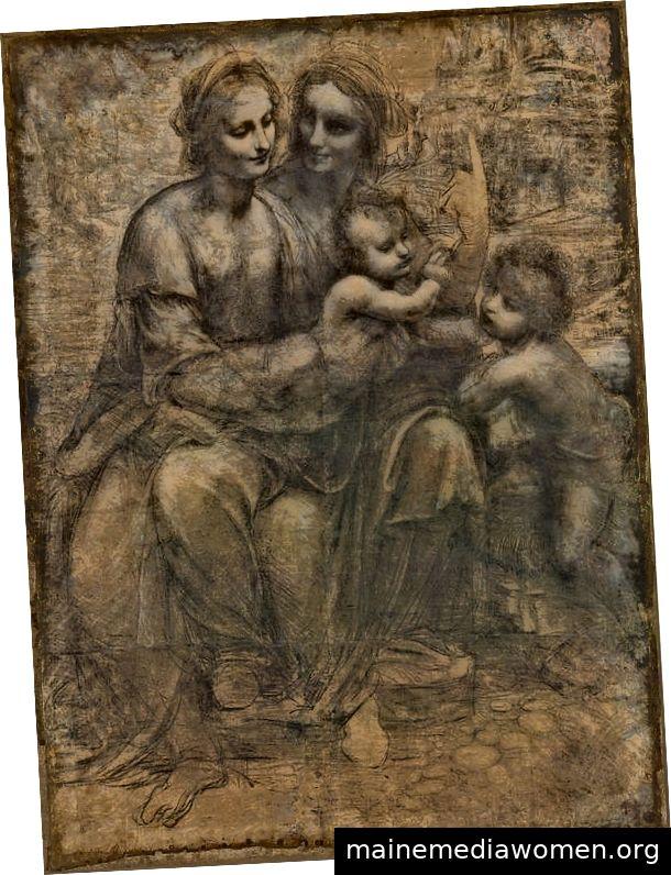 Die Burlington-Karikatur (Vorzeichnung). Die vorbereitenden Skizzen von Leonardo waren so außergewöhnlich, dass die anderen Künstler