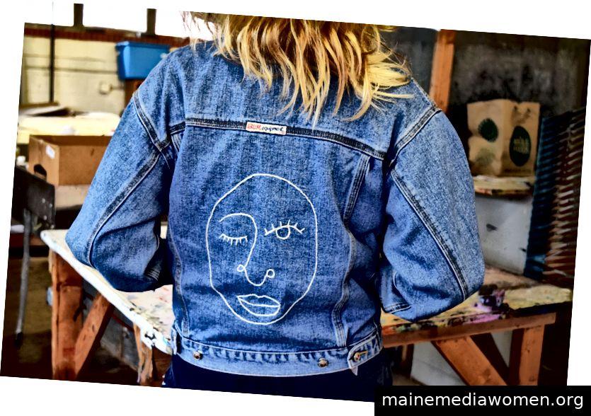 Thrifted Jeansjacke mit Rückenstickerei von Terrell
