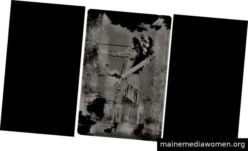 Kent Monkman. Cindy Silverscreen (aus der Serie Emergence of a Legend), 2006. Serie von fünf Fotografien (chromogene Drucke auf Metallpapier) in Zusammenarbeit mit dem Fotografen Christopher Chapman und der Maskenbildnerin Jackie Shawn