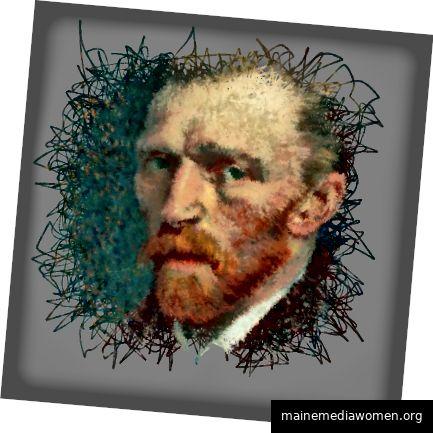 Ein Bündel zufälliger, schnörkeliger Linien wird gezeichnet, um ein Porträt von Van Gogh zu erzeugen.