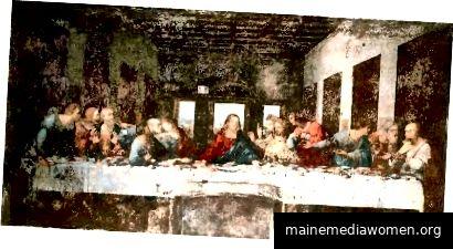 Da Vincis letztes Abendmahl in Mailand in den 1970er Jahren (Beachten Sie die Tür) - Public Domain von Wikipedia