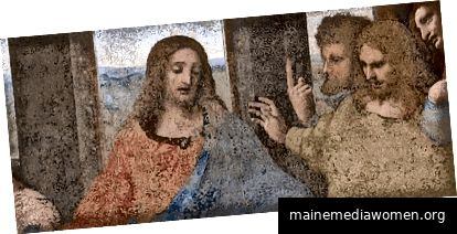 Detail eines restaurierten Gemäldes, das die beige Farbe zeigt, in der das Original gerade verschwunden war. Detail vom public domainbild oben.