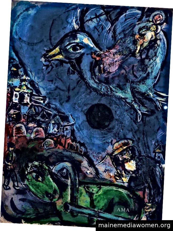 """""""Village au Cheval Vert oder Vision a la Lune Noire"""" Marc Chagall, 1877-1985"""