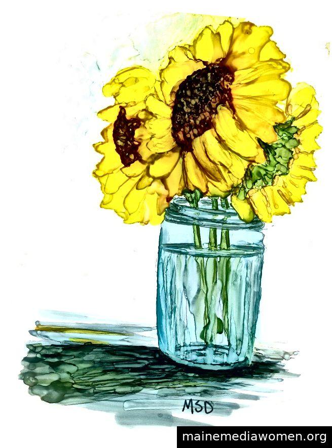Studie, Sonnenblumen & Glas - Aquarell auf yupo - Copyright 2018