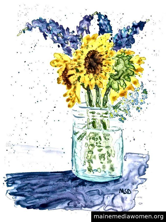 Studie, Blumen u. Glas - Aquarell auf yupo - Copyright 2018