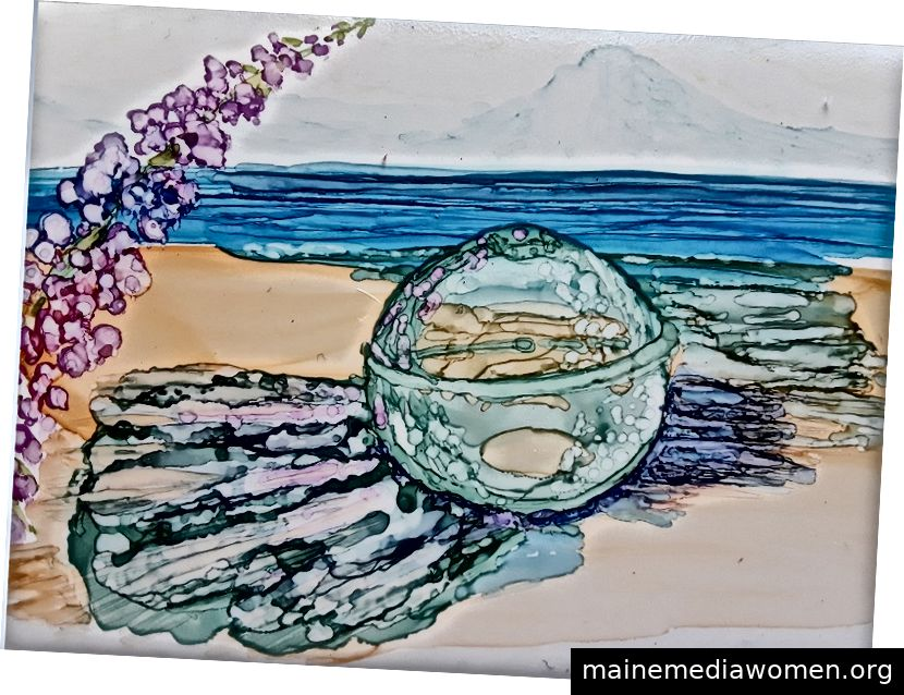 Glas Float & Fireweed, Aquarell auf yupo - Copyright 2019