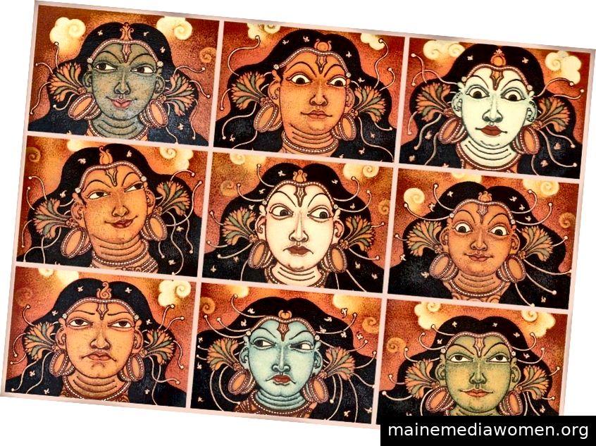 Künstlerische Darstellung des Navarasa. Quelle.