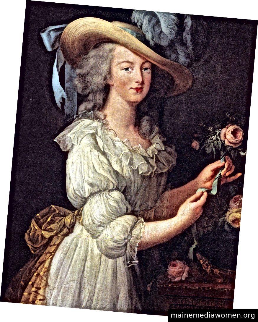 Marie-Antoinette in einem Musselin-Hemd, 1783 von Élisabeth Louise Vigée Le Brun gemalt. Mit freundlicher Genehmigung von WikiMedia und dem Google Art Project.