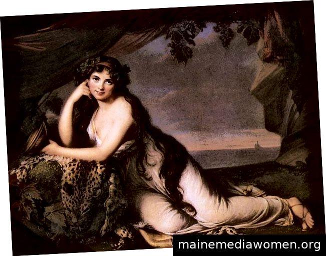 Lady Hamilton, dargestellt als die mythologische Göttin Ariadne, gemalt von Elisabeth Louise Vigée Le Brun. Mit freundlicher Genehmigung von WikiMedia.