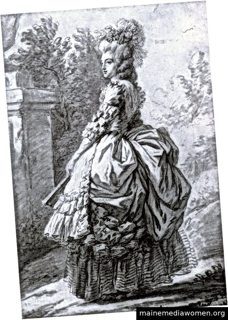 """""""Die reine Marie-Antoinette im Parc de Versailles"""", eine schwarze Kreidezeichnung von 1780, die von Élisabeth Louise Vigée Le Brun mit weißer Kreide auf grau-blauem Papier gehöht wurde. Mit freundlicher Genehmigung von Batguano."""