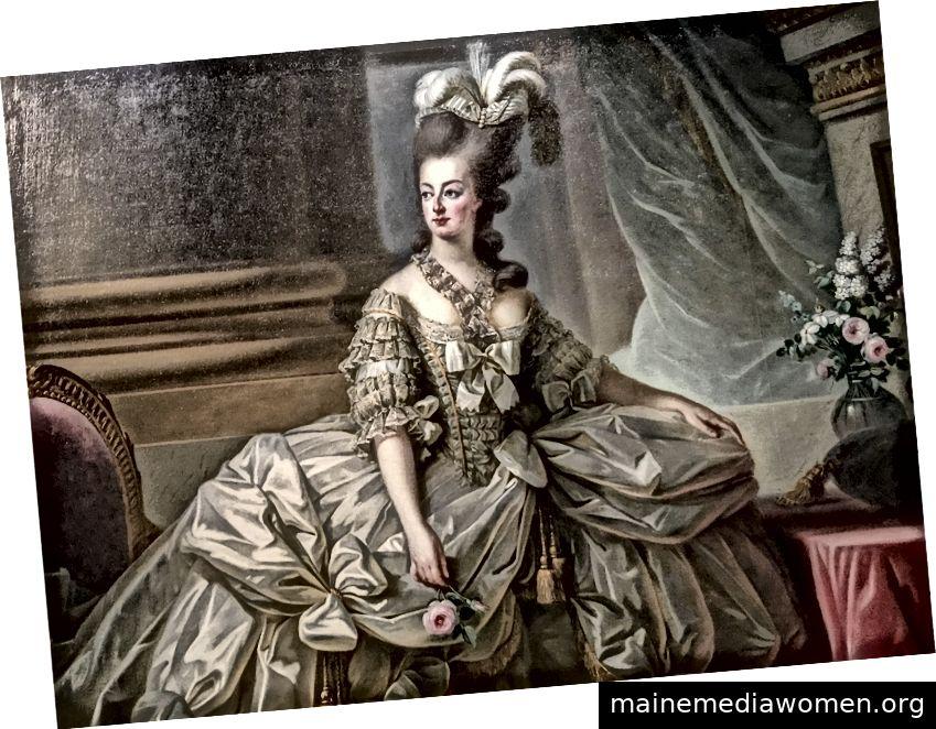 In diesem Detail eines Gemäldes von Marie-Antoinette von Élisabeth Louise Vigée Le Brun ist fast das Rascheln des Satins zu hören. Bild mit freundlicher Genehmigung der MET.