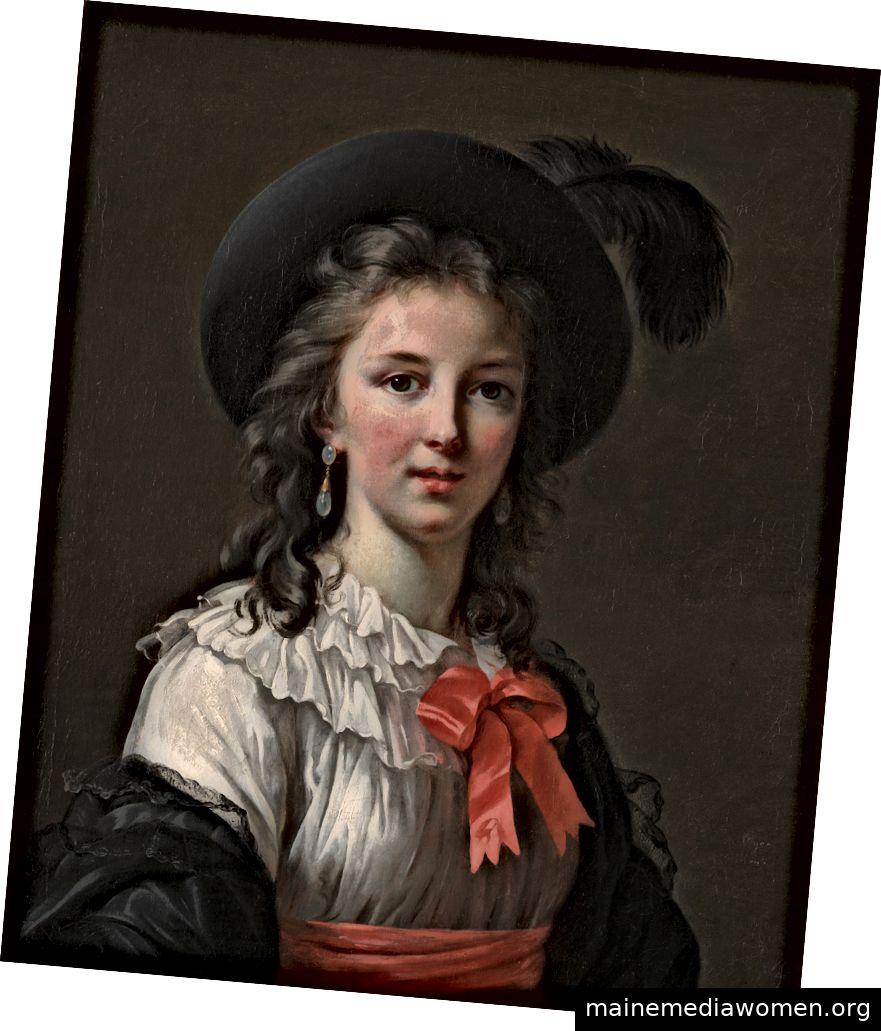 """""""Selbstporträt mit Cerise-Bändern"""" von Élisabeth Louise Vigée Le Brun im Jahr 1782 im Alter von 27 Jahren. Gemälde im Kimbell Art Museum, Fort Worth, TX. Mit freundlicher Genehmigung des Metropolitan Museum of Art."""