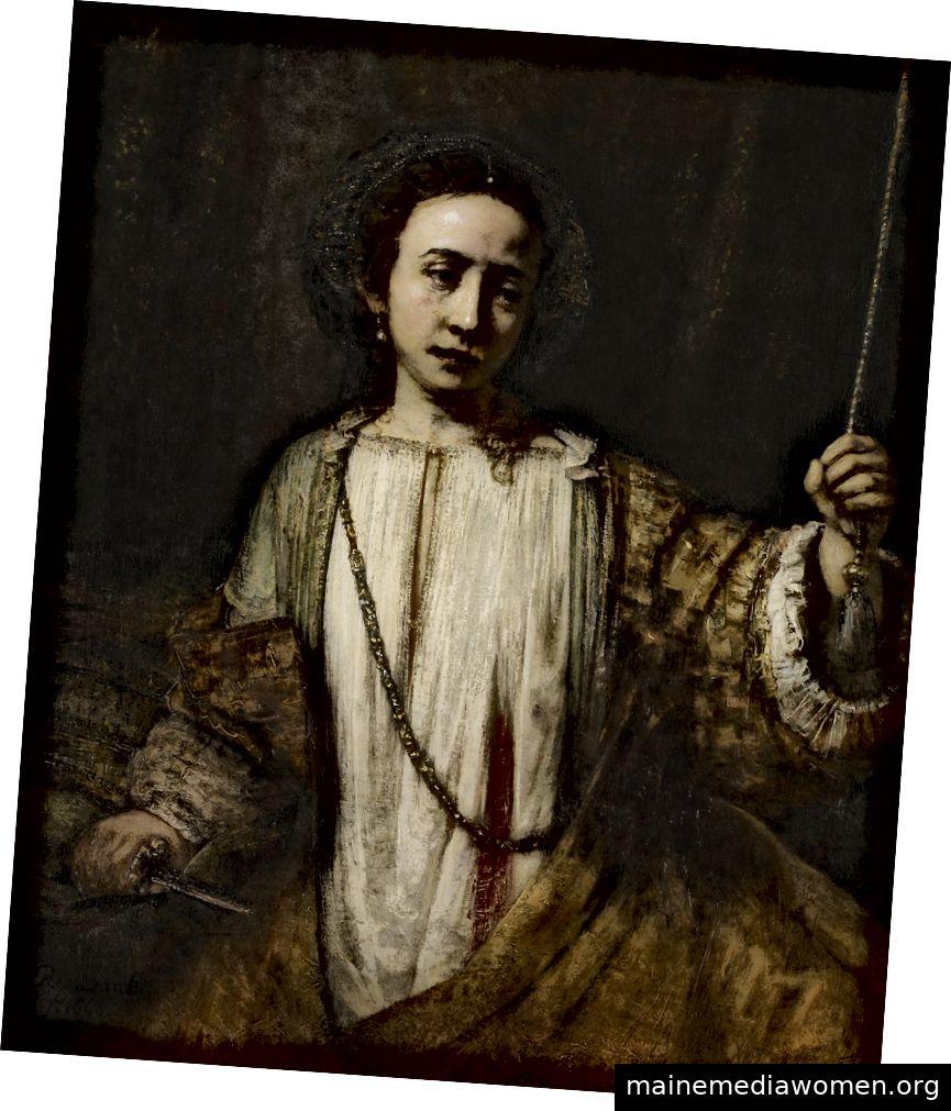 'Lucretia' (um 1666) von Rembrandt van Rijn. Minneapolis Institute of Art, USA. Public Domain.