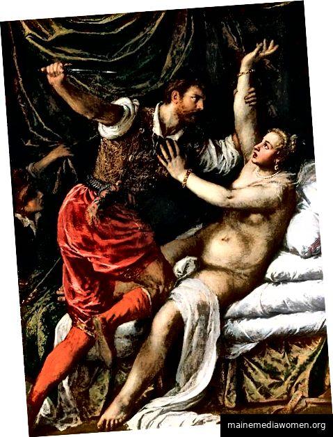 Tarquinius und Lucretia (um 1571) von Tizian. Fitzwillian Museum, UK. Public Domain.