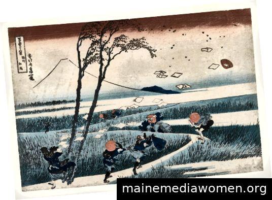 Abbildung 3 - Katsushika Hokusai, Reisende in einer plötzlichen Brise in Ejiri, 1832 gefangen