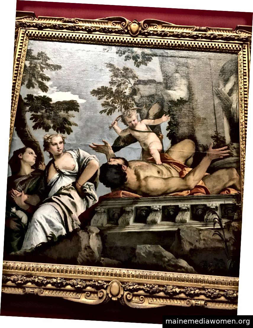 Verachtung, Veronese. Dieser ist etwas leichter zu interpretieren; Cupido knüppelt einen Mann mit seinem Bogen, vermutlich, weil er der Dame auf der linken Seite mit ihren Brüsten einen unangemessenen Vorschub geleistet hat.