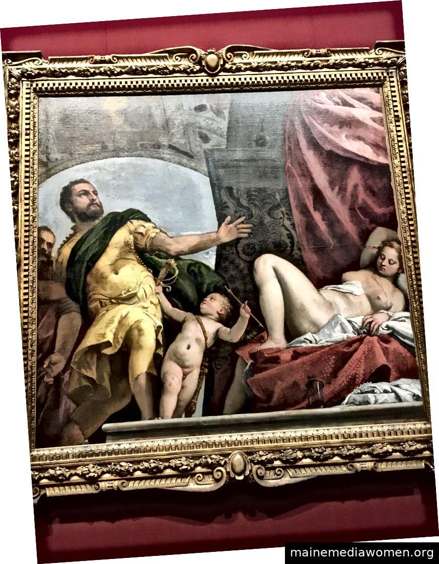 Respekt, Veronese. Cupid taucht in diesem Film erneut auf, doch diesmal scheint er einen Soldaten zu einer nackten schlafenden Frau zu führen. Er widersetzt sich
