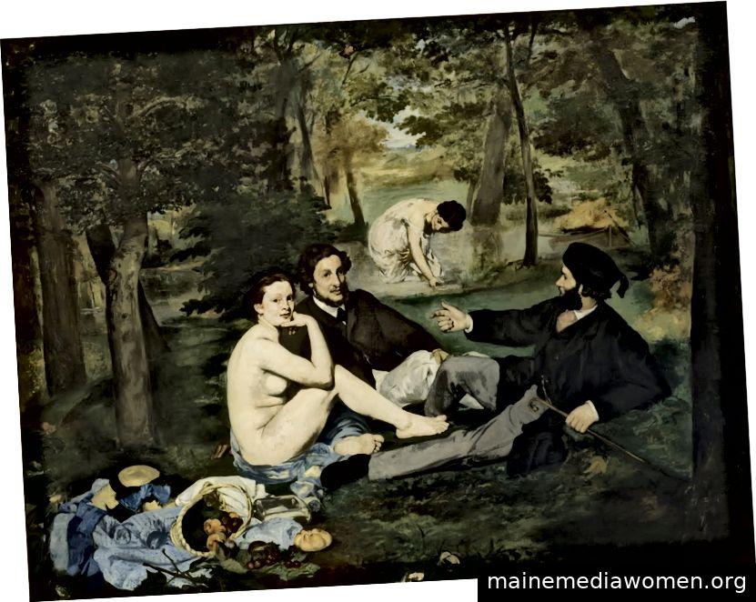 Édouard Manet, Das Mittagessen auf dem Rasen (um 1863). Öl auf Leinwand. Musée d'Orsay, Paris.