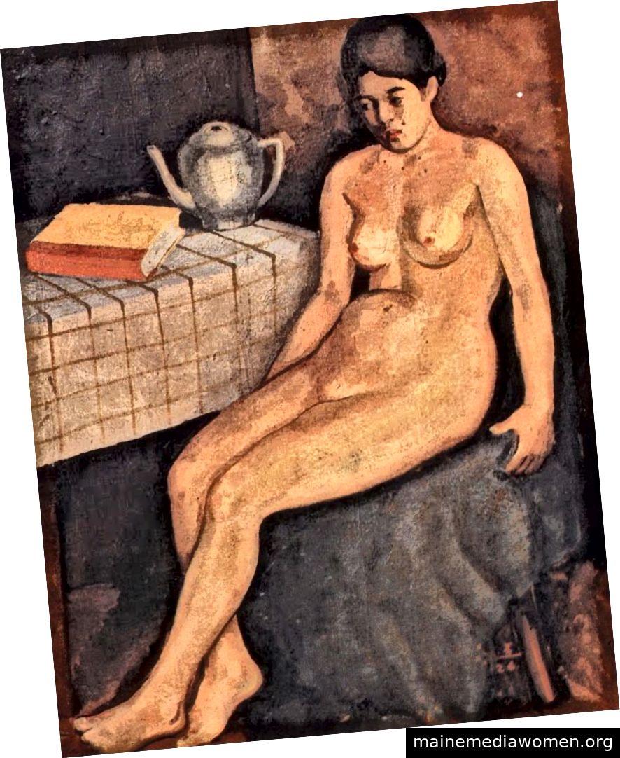 Hwang Sul-jo, Sitzende Frau im Akt, (um 1904/1926). Öl auf Leinwand. Privatsammlung.
