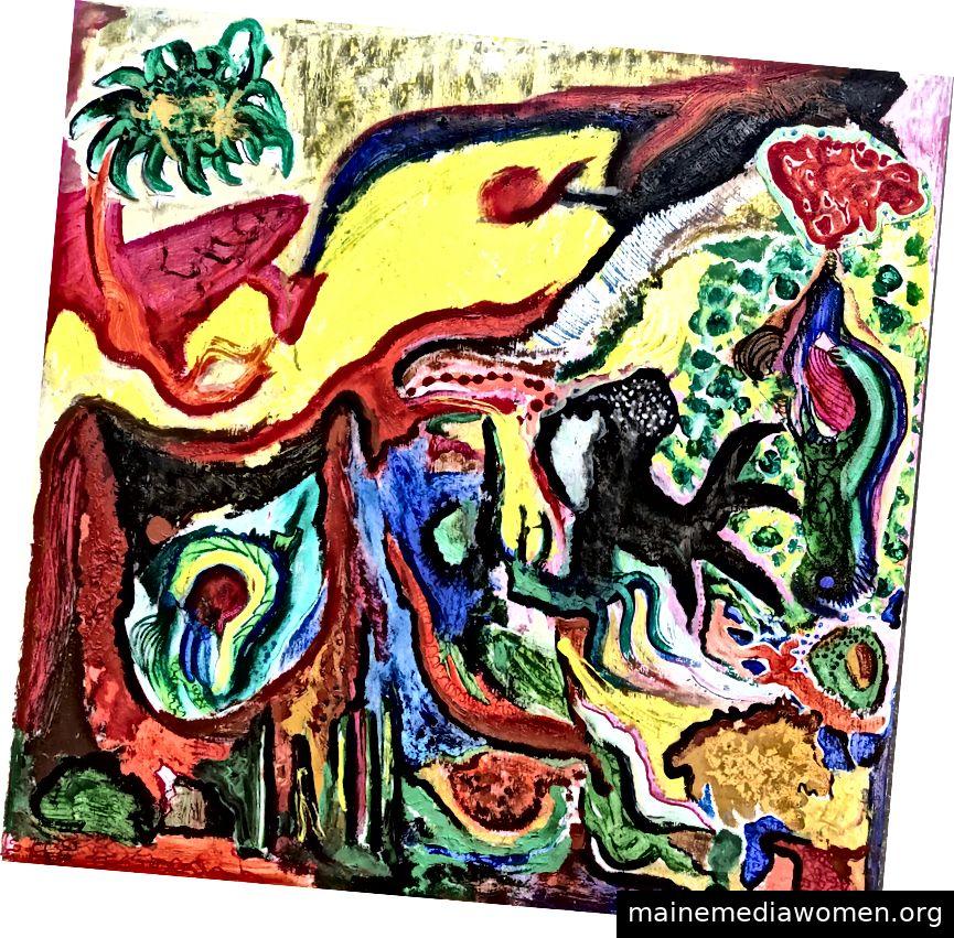 LUCA-Vignetten. 2019. Tinte, Acryl, Leinwand Collage auf Sperrholzplatte. 24 x 24 Zoll