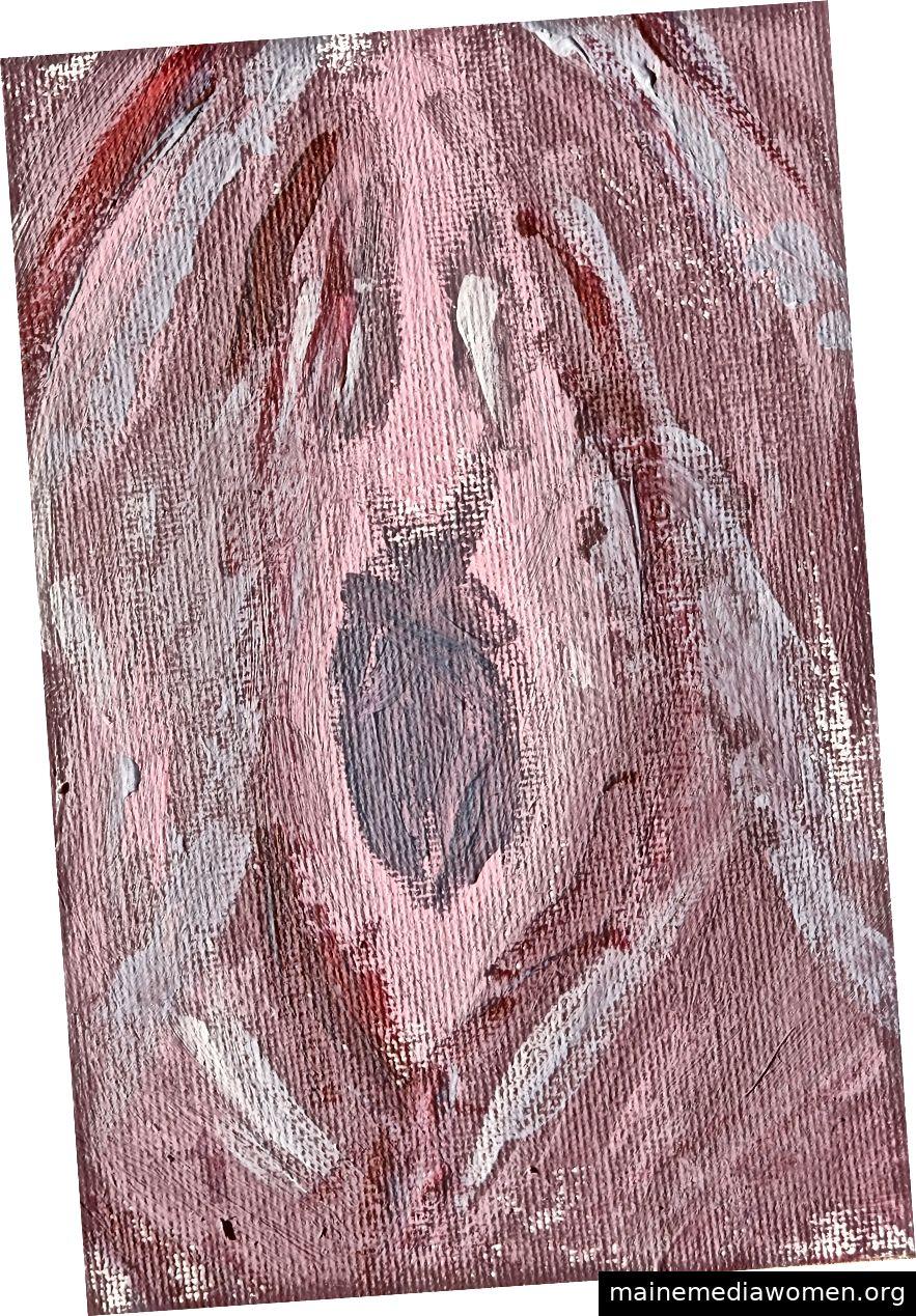 Kunst im Gefängnis, Beispiel 1: Die Künstlerin selbst erklärte, dass das Gemälde auf den ersten Blick wie eine Vagina aussehen könne. Sie fuhr fort zu erklären, dass es bei näherer Betrachtung tatsächlich ihre Schreie sind, dass sie von ihren ursprünglichsten Wünschen versklavt (eingesperrt) wird. Ein männlicher Kunstkritiker korrigierte sie schnell und informierte sie, dass es sich tatsächlich um ein Bild handelt, in dem ihre Vagina das Patriarchat anschrie.