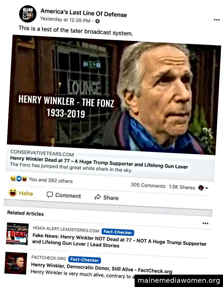 Amerikas letzte Verteidigungslinie integriert gezielt aufgerufene Tatsachenüberprüfungen in eine Art Performance-Kunst in sozialen Medien, ähnlich wie Stephen Colberts Charakter. Diese Geschichte ist insofern einzigartig, als sie konsistent zwei Faktenprüfungen in den Facebook-Feeds mehrerer Benutzer durchführt.