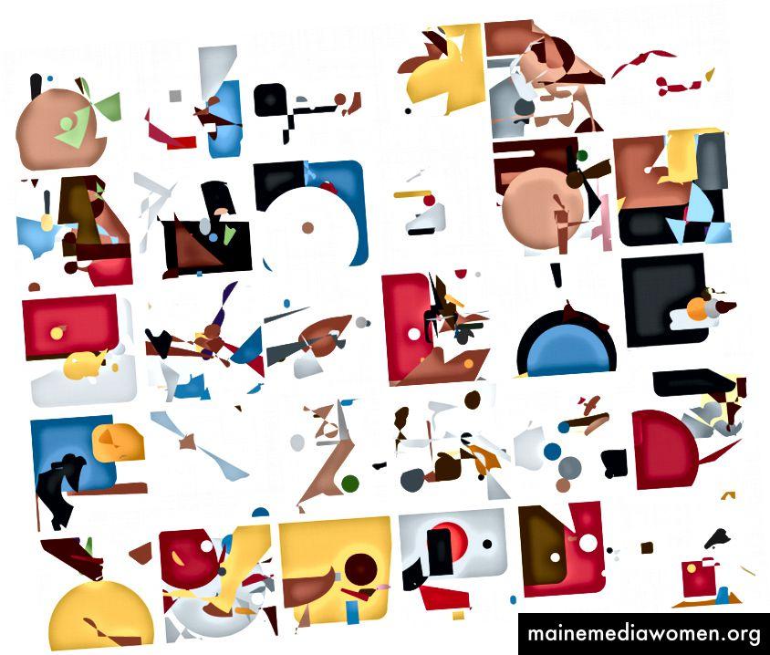Sammlung von verschiedenen Zeichen generiert Emoji.