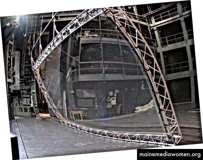 Bild des Aufbaus einer reflektierenden Folie für die Bühnenproduktion - Quelle