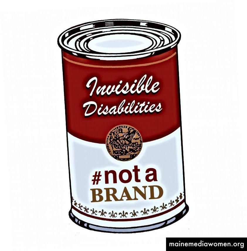 Bild einer Suppendose mit der Aufschrift Invisible Disabilites #NotABrand von Gina di Grazia