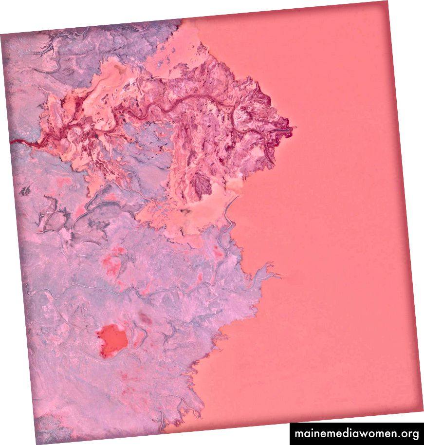 46 · 407676 °, –87 · 530954 ° Tailings sind die Abfälle und Nebenprodukte, die im Bergbau anfallen. Die hier gezeigten Abfälle wurden in das Gribbens-Becken neben den Empire- und Tilden-Eisenerzminen in Negaunee, Michigan, USA, gepumpt. Sobald die Materialien in den Teich gepumpt sind, werden sie mit Wasser gemischt, um eine schlampige Form von Schlamm zu erzeugen, die als Aufschlämmung bekannt ist. Die Aufschlämmung wird dann durch magnetische Trennkammern gepumpt, um verwertbares Erz zu gewinnen und die Gesamtleistung der Mine zu erhöhen. Zur Veranschaulichung des Maßstabs zeigt diese Übersicht ungefähr 2,5 Quadratkilometer des Beckens. Tagesübersicht   Satellitenbilder © 2016, DigitalGlobe, Inc.