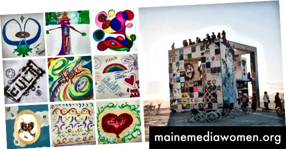The Tapestry Wall on the Cube Life in Burning Man ، 2013 تصوير توماس لوي