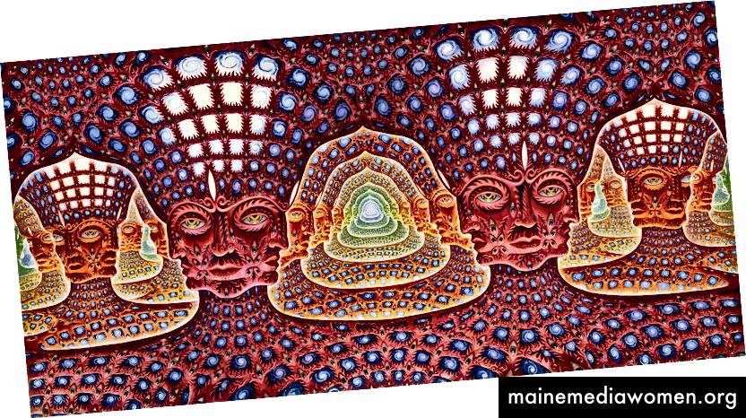 Net of Being von Alex Gray - Wir sind alle durch die Galaxien verbunden, die uns geschaffen haben. Wissen kommt von oben und verbindet uns unten.