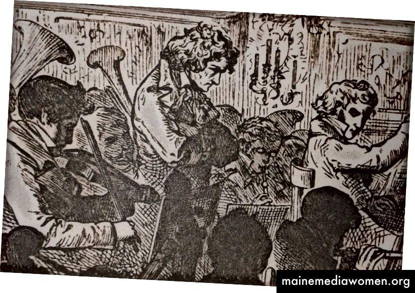 Ein Druck aus dem 19. Jahrhundert, der die erste Aufführung von Beethovens 9. Symphonie mit Beethoven in der Mitte seines Orchesters zeigt. Über Wikimedia Commons