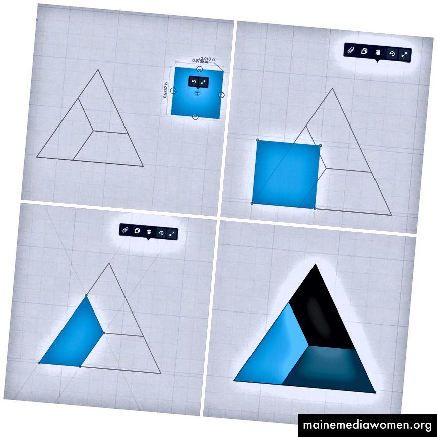 Erinnerst du dich an den Prozess? 1) Füllen Sie ein Quadrat mit der Rechteckführung und dem Füllwerkzeug aus. 2) Rasten Sie die Ecke des Quadrats an einer Ecke eines Polygons ein. 3) Verwenden Sie die Transformationspunkte, um Ihr Rechteck zu verzerren und an den Ecken der Form zu fangen.