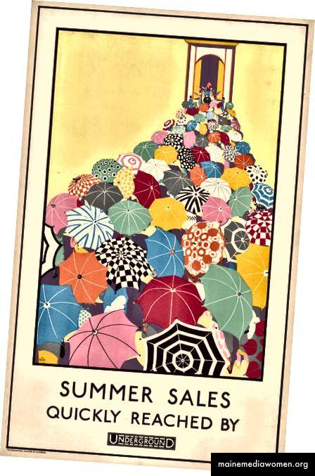Sommerverkäufe schnell erreicht, von Mary Koop, 1925 | Mit freundlicher Genehmigung des London Transport Museum